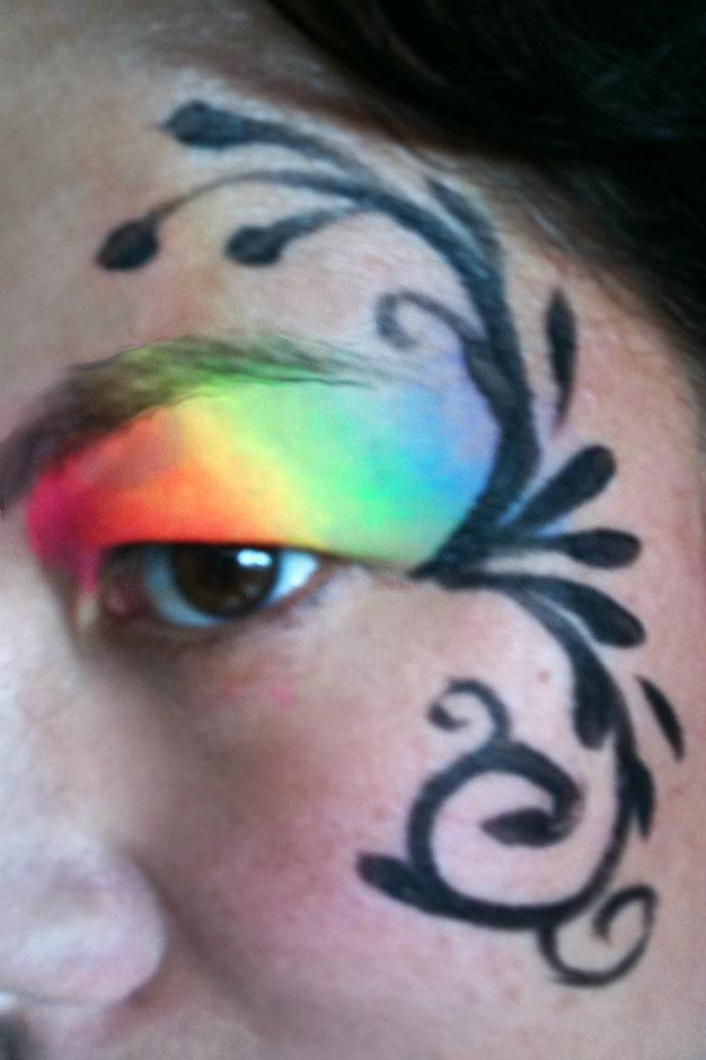 Rainbow Eyelid with Black Design